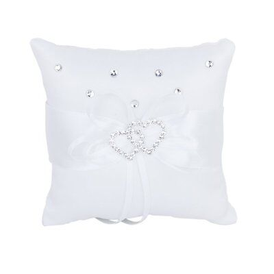 SY White Double Heart Rhinestone Ring Pillow Wedding Ring Bearer Cushion 10*10cm