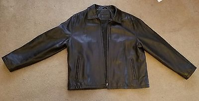 Brandini Men's Black Genuine Leather Jacket, Size: XXL.  Used-Barely worn.