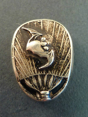 Ojime Bead In Silver, Of A Bat On A Fan