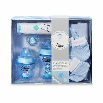 Tommee Tippee Gift Set Bottle Bib Soother Baby Boy Newborn