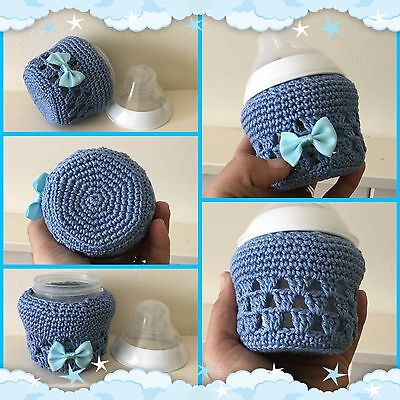 Hand crochet baby bottle Blue cover for tommee tippee 5oz ~ Unique New Baby Gift