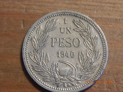 1940 So Chile Un Peso - Only 150,000 minted - CU/NI - Scarce coin