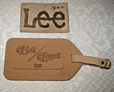 **salesman Supplies Advertising Lee Jeans Suede Luggage Tag And Patch**