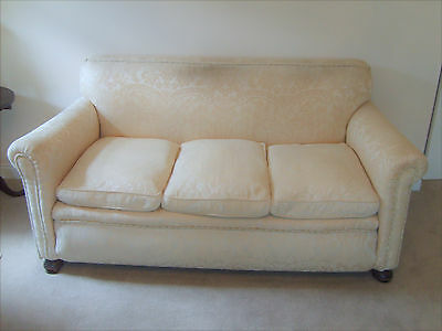 Victorian 3 seater scroll end sofa settee with removable cushions - antique