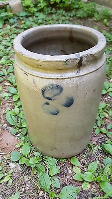Blue Decorated STONEWARE CROCK  10""