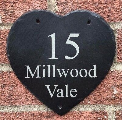 Personalised Engraved Slate Heart House Number Name Door Plaque Address Sign