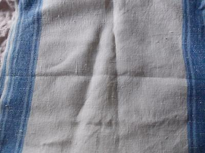 Vintage Linen Dish Towel Fabric..white With Blue Stripe..1 2/3 Yards..unused