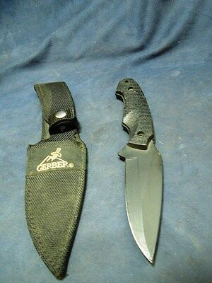 "Gerber 8 1/2"" Fixed Blade Knife With Sheath From Estate"