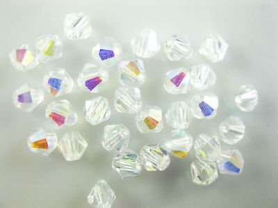 Bulk 50pcs Half Clear AB Glass Crystal Faceted Bicone Beads 6mm Spacer Findings