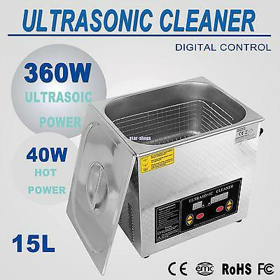15L 500W Ultrasonic Cleaner Heating Heater Timer 0-80℃ Temperature Control