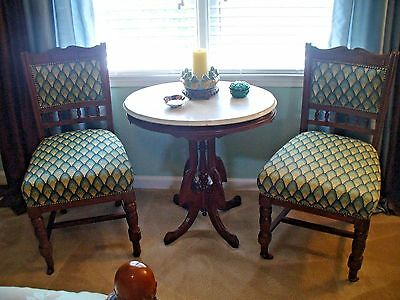 Antique Vintage Mahogany Pedestal Oval Side Tea Hall Table White Marble Top