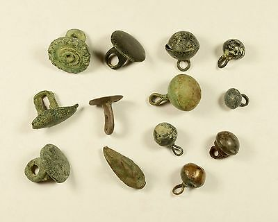 Scarce Lot Of 13 Ancient Bronze Buttons / Knobs