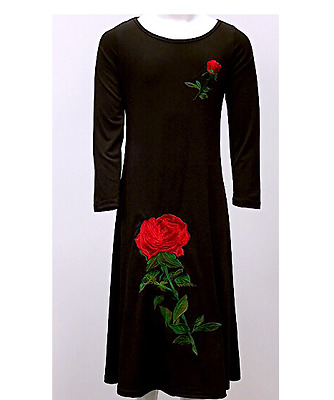 Girls Maxi School Dress Kid Red Rose Embroidered Long Sleeve Holiday Abaya Top