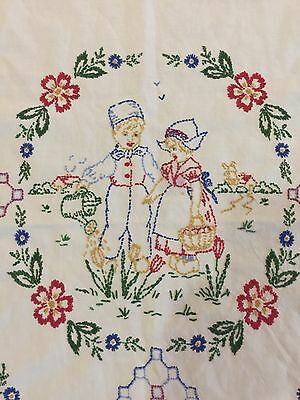 Beautiful Vintage Hand-Embroidered Table Runner, Wall Hanging, Curtain