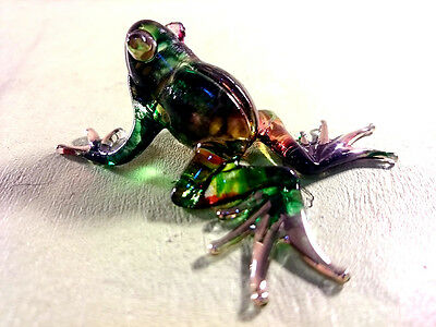 Frog Figurines Glass Animals Hand Painted Hand Blown Glass Art Home Decor/Gift
