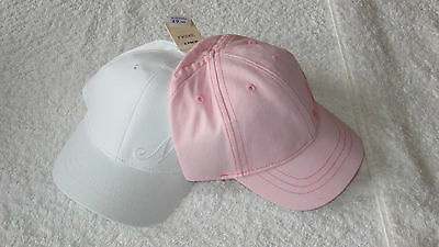 Next 1-2 years 2pk PINK / WHITE CAPS *BNWT* Sun Hat Hats Girls New 12-18-24 mths