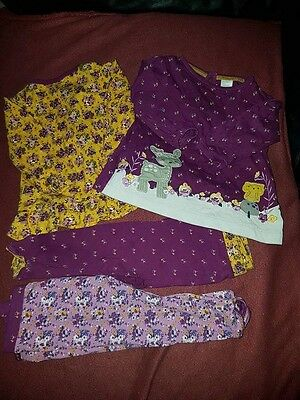 four part set. leggings and tops. 3-6 months