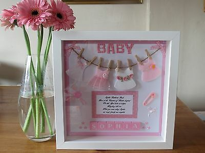 Personalised picture frame baby girl/boy/new baby/christening/nursery/gift