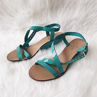 Kate Spade Authentic Teal Strappy Wedge Women's Sz 6M Leather Heels Shoes