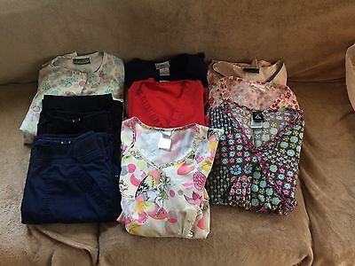 Huge Ladies Scrubs Mixed Lot!! 2 Koi Pants, 1 Scrub Jacket And 6 Scrub Tops!