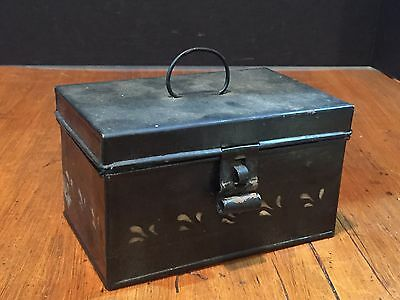 Small Antique Vintage Tole Painted Metal Lock Box