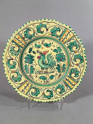 Vintage PV Peasant Village Italy Pottery Plate Hand Painted Rooster Dish