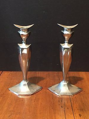 Pair of Antique Vintage Nichols Silver Co. Silver Plated Candlesticks