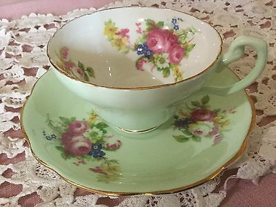 Eb Foley Bone China  Cup And Saucer England   Pale Green/posies