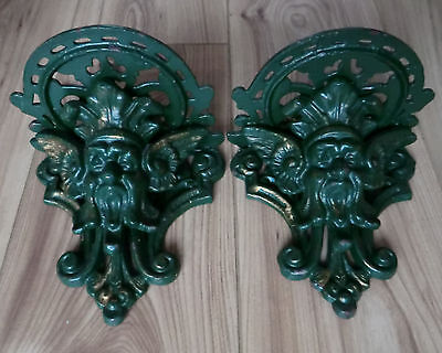 Pair of Decorative Corbel Renaissance/gothic Green and Gold man solid Iron
