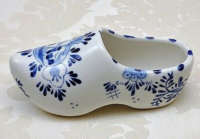 Holland Floral Hand Painted Delfts Blauw Blue White Ceramic Dutch Small Shoe