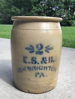 Antique E.S.&B. New Brighton PA Salt Glaze 2 Gallon Pottery Decorated Crock