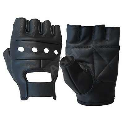 New Mens Leather Fingerless Driving Motorcycle Biker Gloves Xs-3Xl