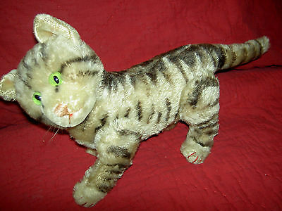 Large fully jointed, STEIFF c1950s, Tabby Cat kitten with glass eyes Susi ?