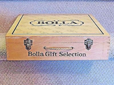 "Bolla Wine Wooden Box, Hinged, Empty, Rope Handle, 13 1/2"" x 13 1/2"" x 3 3/8"""