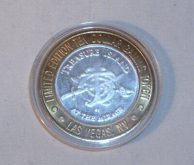 Treasure Island Casino Sterling Silver And Gold Clad 10 Dollar Chip Limited