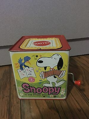 Vintage 1966 Mattel WORKING Snoopy Peanuts Metal Jack in the Box FAST FREE SHIP