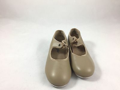 Capezio Girls Tap Shoes Tan Size 11 1/2 Preowned Dance With Ribbon