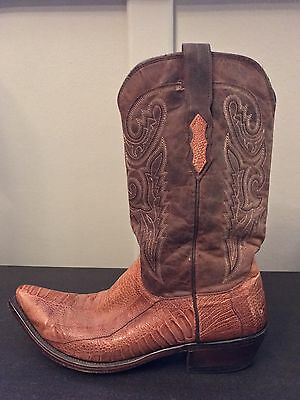 Mens 11D Lucchese Exotic Ostrich Leg Western Cowboy Boots