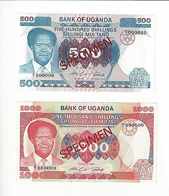 Uganda 500, & 1000 Shillings,  Obote Type Specimens  Very Scarce    Nice Unc