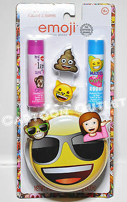 Emoji Lip Balm With Coin Bag Tin Zipper Bag Girls Accessories Stocking Stuffer