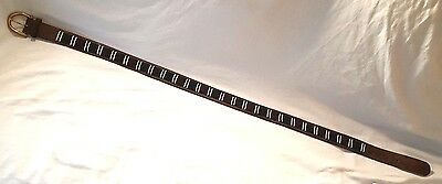 """MEN'S BURGUNDY+GREEN+WHITE BEADED BROWN LEATHER BELT: Fits Waist Size 38"""" to 41"""""""