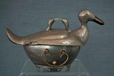 Antique Chinese Qing Dynasty Pewter Duck Shape Turin With Jade Jadeite