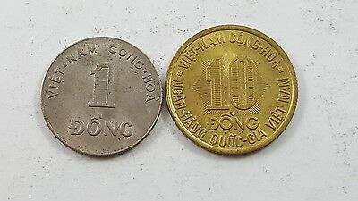 South Vietnam 1974 10 Dong and 1964 1 Dong coin lot