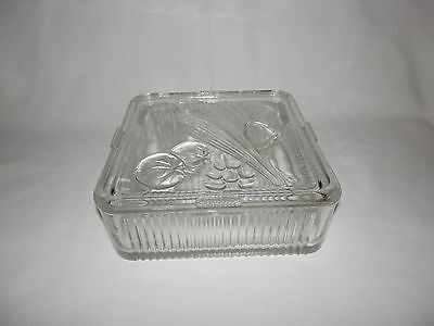 Vintage Clear Glass Vegetable Square Refrigerator Dish / Box with Lid