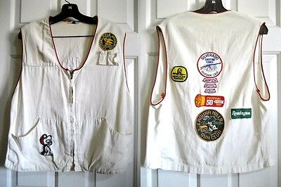 Vintage White Shooting Vest w/Patches - Gun Club - Shell Loops - USA -Size: M