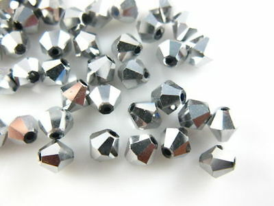 Bulk 200pcs Silver Plated Glass Crystal Faceted Bicone Beads 4mm Spacer Findings