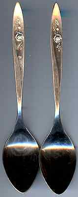 2 Silverplated Demitasse Spoons - 1960 Morning Rose Pattern - Community Plate