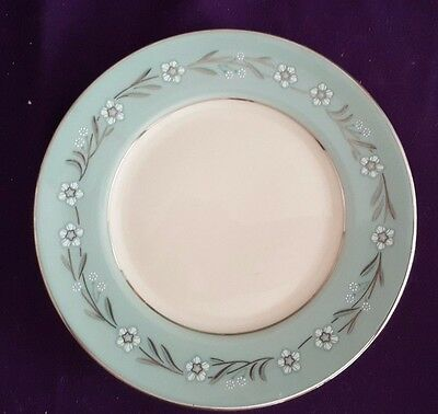 "Del Rio by Franciscan, 6 3/8"" Bread & Butter Plate 1956, Aqua Rim, Platinum Trim"