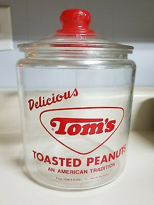 Vintage Tom's Peanut Original Red Jar And Lid very good condition
