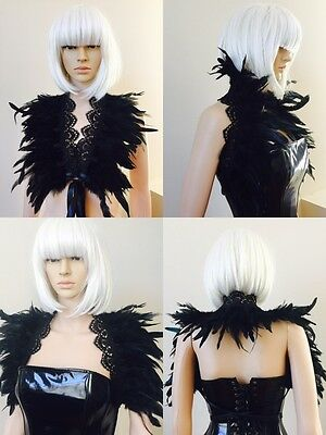 Victoria feather Coque feather Goth evening feather shrug shoulder wrap black